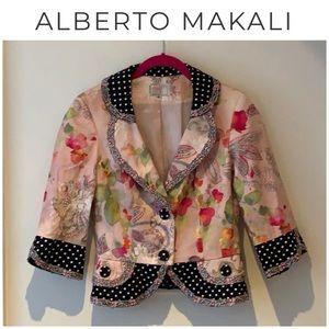 Alberto Makali polka dot floral blazer 6